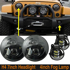"2x Black 7"" Round 40W CREE LED Headlights & 2x 4'' LED Fog Lamps F Jeep Wrangler"