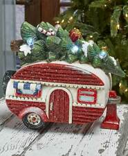 Vintage Red Camper w/ Lighted Tree Holiday Christmas Accent Statue