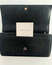 Authentic GUCCI Calfskin Black Leather Wallet. Snap Fasten. Zip Inside. Gorgeous