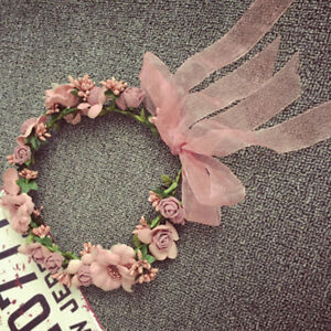 Girl Floral Crown Rose Flower Headband Hairband Wedding Hair Garland Head Band