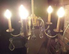 KRISTALLEUCHTER 5 flammig Lüster KRONENLEUCHTER um 1925 Messing Kristallglas