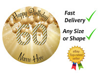60th Birthday Cake & cupcake toppers edible wafer/icing sheet  personalised