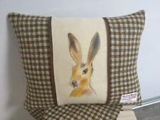 Harris Tweed cushion, handpainted Hare panel, home decor, accent cushion, gift