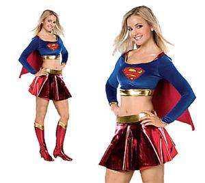 Supergirl Sexy Teen Superhero Superwoman Fancy Dress + Boots Costume ONE SIZE