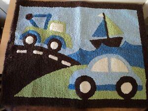 """Boys Blue Brown Car Truck Boat Rug Carpet Nursery Playroom Bedroom 38"""" x 29"""""""