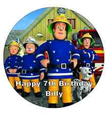 """Fireman Sam Personalised Wafer Paper Topper For Large Cake Various Sizes 7.5"""""""