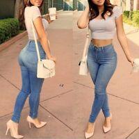 Sexy Women Lady Denim Skinny Pants High Waist Stretch Jeans Slim Pencil Trousers