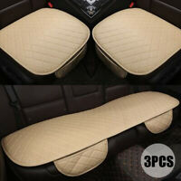 3PCS Car Seat Cover Set Leather Protector Front Rear Cushion Beige Universal z