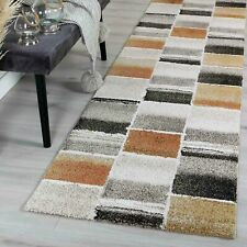 MICHIGAN BEIGE RUST GEOMETRIC URBAN SQUARES MODERN RUG RUNNER - 2 Sizes **NEW**
