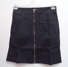 NEU toller Damen Stretch Rock in uni schwarz mit Reißverschluß vorn Gr.40