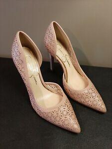 Jessica Simpson 6.5/36 Claudette Mauve Perforated Pointed Toe Half D'Orsay Pumps