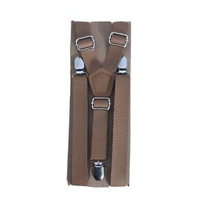 Handmade Faux Leather Suspenders Groomsmen Wedding Rustic Cognac Brown NEW