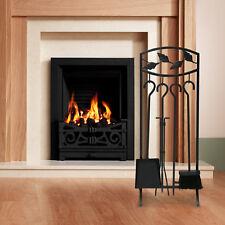 "5 PCS Hearth Tool Fireplace Set Fire Tools Set Black Iron Home 30"" Pedestal Base"
