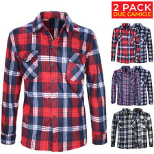 Camicia Uomo In Pile 2 Pack Flanella a Quadri Felpa Taschino Regular Fit VEQUE