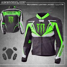 Hommes Monster vert MOTO MOTO RIDER Veste en cuir LLJ-174 (US 38-48)