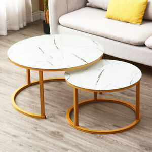 Round Coffee Table Gold With Smoked Glass Centre Table Living Room Furniture UK