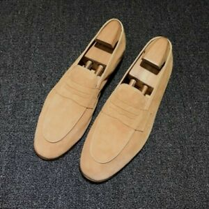 Men's British Low Top Slip On Loafers Round Toe Low Heel Casual Shoes Spring New