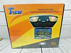 """Tview T90DVFD 9"""" Flip Down Monitor With DVD, USB, SD, FM - Black *NEW* Vtg"""