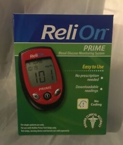 RELION PRIME BLOOD GLUCOSE MONITORING SYSTEM 7-SECOND RESULTS DIABETES DIABETIC