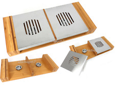 TWIN FOOD WARMER BAMBOO STAINLESS STEEL HOT PLATE SERVER TRAY PLATE DINNER LUNCH