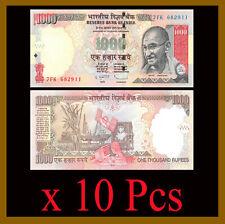 India 1000 (1,000) Rupees x 10 Pcs, 2011 P-100 Gandhi Unc