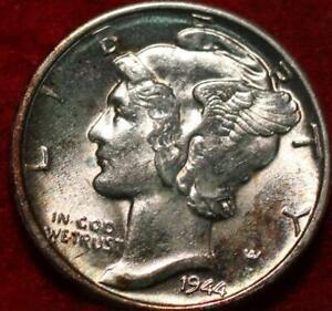 Uncirculated 1944-D Denver Mint Silver Mercury Dime Toned