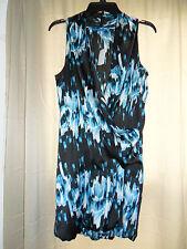 Derek Lam Women's Bubble-Hem Dress Sleeveless Black/White/Blue Small NEW