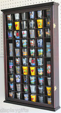 56 Shot Glass Display Case Holder Wall Cabinet  Rack Shadow Box -CHERRY SC5