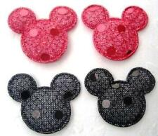 50 Padded Sequin Mouse Head Applique/trim/bow/shiny/mickey/sewing L82-Red/Black