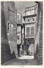Antique woodcut print street Baghdad Iraq 1887