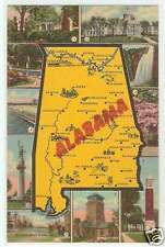 Alabama Postcard - Map & State Views Linen 1940