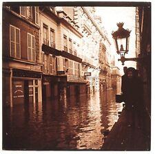 Paris Rue de Bellechasse Crue de la Seine de 1910 Plaque Stereo Positif Vintage
