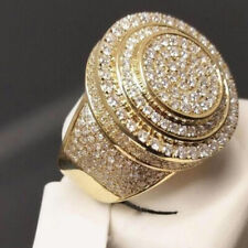 18K Yellow Gold Filled Wedding Diamond Band Men's Engagement Party Ring Size7-12