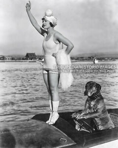 Vintage 1910 8x10 Photo Beautiful Actress Marie Prevost & Teddy Dog Driving Boat