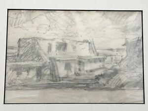 Frank Van Sloun (1878-1938) PUEBLO SCENE 1925, graphite drawing on paper
