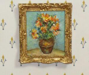 Josephine Meyer Framed Art à la Van Gogh Flowers - Artisan Dollhouse Miniature