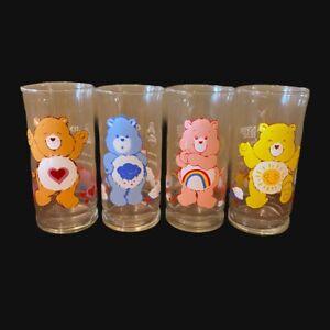 Vintage Set Of 4 Pizza Hut Care Bear Glasses Grumpy Cheer Funshine Tender Heart