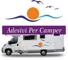 2 Kit ADESIVI PER CAMPER e AUTO- Onde e gabbiani - DIMENSIONI: 40x22 CENTIMETRI