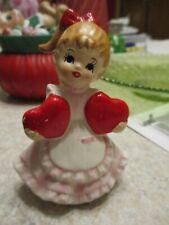 Vintage Lefton Japan Ceramic Valentines Day Girl with Heart Figurines #2184