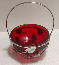 Antique Vintage Red Ruby Condiment or Candy Dish in silver leaf Metal holder