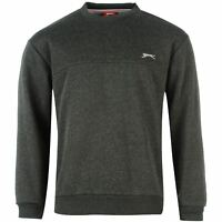 Slazenger SL Fleece Crew Sweater Mens Charcoal Sweatshirt Jumper Top