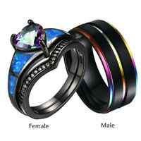 Couple Wedding Rings Black Opal Womens Rings Set&Mens Stainless Steel Bands Gift