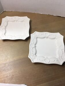 "BORDALLO PINHEIRO PORTUGAL 8"" LUNCHEON 2 PLATES WHITE"