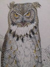 "GENE MURRAY (?-1992) RARE LIMIT EDITION ""OWL"" INK SKETCH PRINT"