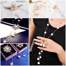 Pearl flower Butterfly sunflower daisy pendant long necklace fringe UK seller