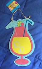 NWT Embellished Hard Board Hanging Cocktail Glass Plaque-Kitchen, Bar, Outdoors