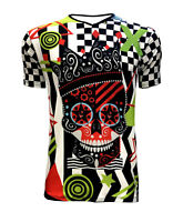 Designer Men's Colorful Funky King Skull Chequer V-Neck T-Shirt Top Tee Punk