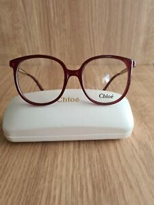 Genuine Chloe Red Clear Frames Round Retro Glasses With Case Womens