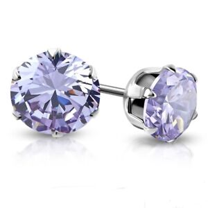 Pair Earring Woman Girl Steel round Zircon Diams Violet 4mm XRY088