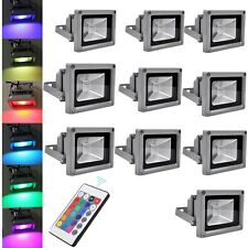 10X 10W LED RGB Dimmable Flood Light Spot Garden Outdoor Security Lamp + Remote